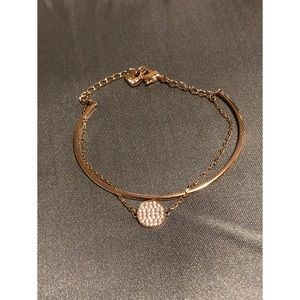 Swarovski Jewelry - Swarovski Crystal Rose Goldplated Layered Bangle